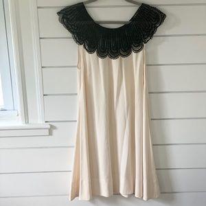 AKA black lace cream swing dress medium